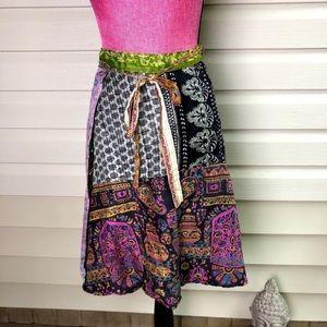 Vintage bohemian style patchwork skirt